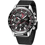 LIGE Men Watches Elegant Waterproof Black Analog Quartz Stainless Steel Wrist Watch for Men Military Chronograph Sports Multifunction Mesh Band Watch