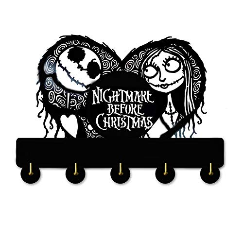 The Nightmare Before Christmas Key Hooks -Wood Coat Hooks, Key Holder,Key Hanger for Wall、Entryway and Kitchen -Unigue Wall Decor(Nightmare 1)