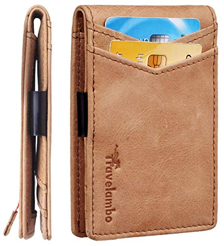 Travelambo Mens RFID Blocking Front Pocket Minimalist Slim Genuine Leather Wallet Pull Tab Money Clip (Tan)