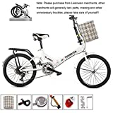QINYUP 20 Pulgadas de Bicicletas Plegables Bicicletas Estudiante Plegable Hombres y Mujeres Variable Plegable Velocidad de Bicicletas absorción de Choque de Bicicletas,Blanco