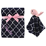 Personalized Premium Safe Animal Security Blanket Pink Owl Blanket   Baby Blanket   Free Custom Monogram/Name Embroidered -Ideal for Baby Shower/Birth Present (Pink Whale)