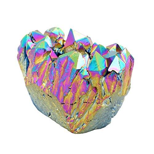Qgem naturale con rivestimento in titanio, cristallo di rocca Druzy cluster geode Specimen minerale Gemstone Ornament Decor 0,1- 0,2kilogram, Pietra, Rainbow
