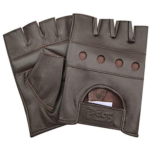PrimeLeather Kwaliteit Echt Leer Zachte Vingerloze Handschoenen Voor Gewicht Training Fietsen Fiets Rolstoel GYM Etc XL - Bruin