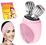 Limpiador facial electrico con diadema maquillaje y libro cepillo masajeador facial y limpieza facial profunda por vibracion lifting facial V control tiempo uso impermeable IPX6 rosa