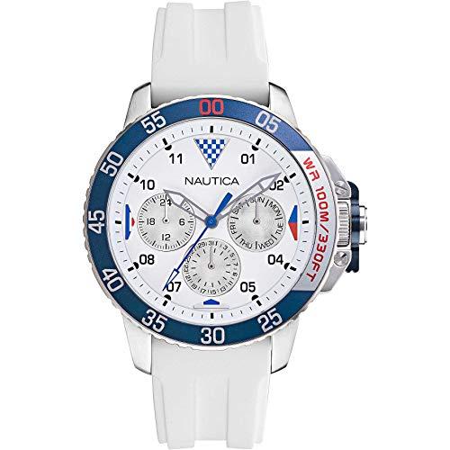 Nautica Reloj casual para hombre, correa de silicona de cuarzo, de acero inoxidable, color blanco, 22 (modelo: NAPBHS010)