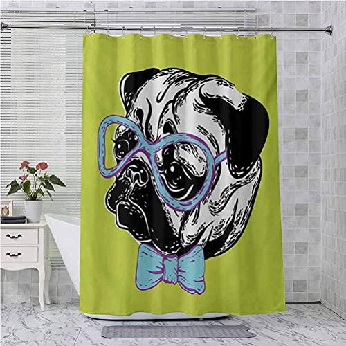lovedomi Juego de accesorios de baño para decoración de baño, diseño de perro con pajarita y gafas de Nerd sobre fondo verde, cortina de ducha de tela de poliéster impermeable de 183 x 183 cm