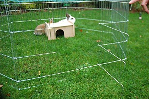 dobar 80605 Großes Kaninchengehege aus 6 Elementen, mit Nylon Netz und Holzhaus, XXL Freilauf für Hasen, Freilaufgehege XL, 165 x 145 x 60 cm, Silber - 9