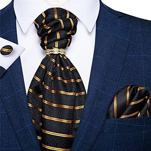 WODMB TIES DE CRAVAT BLACK DE RAYAS DE ORO PARA HOMBRES TIE VINTAY TIE POLIÉSTER DE SELIDO DE SELIDO REGALO (Color : Gold Striped, Size : One size)