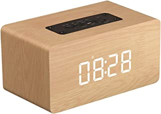Razab1 Bluetooth Speakers Double Speakers Wood Wireless Stereo Sound Bluetooth Speaker Support Clock FM