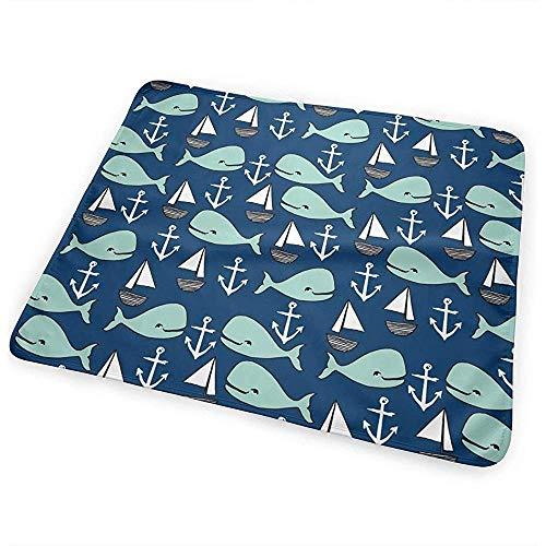 Babydesign Wickelauflage,Nautische Wale Ändern Pad Tragbare Wasserdichte Wickelunterlage Für Kinder Spielen Kinderwagen 65 * 80Cm
