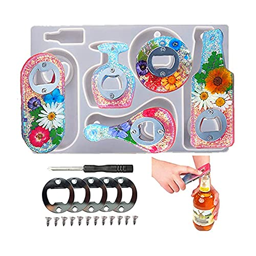 Abrebotellas Kit de Moldes de Resina Bricolaje Molde de Silicona para Abrebotellas de Resina epoxi Creativo DIY Molde de Fundición Manualidades