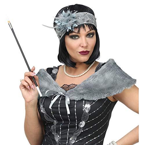 Amakando Gatsby Kostüm-Zubehör mit Schultertuch & Haarschmuck / Grau / Flapper Verkleidungskit für Damen / Perfekt angezogen zu Fasching & Fastnacht