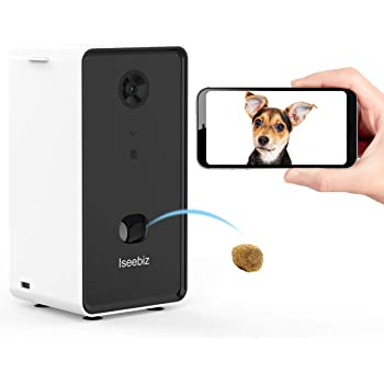 Iseebiz Smart Pet Camera, Dog Camera Treat Dispenser, 2-Way Audio, 720P Night Vision Camera, App Control(Android/iOS) Treat Tossing, 2.4G Wifi Enable, Compatible with Alexa, Monitor Your Dogs and Cats