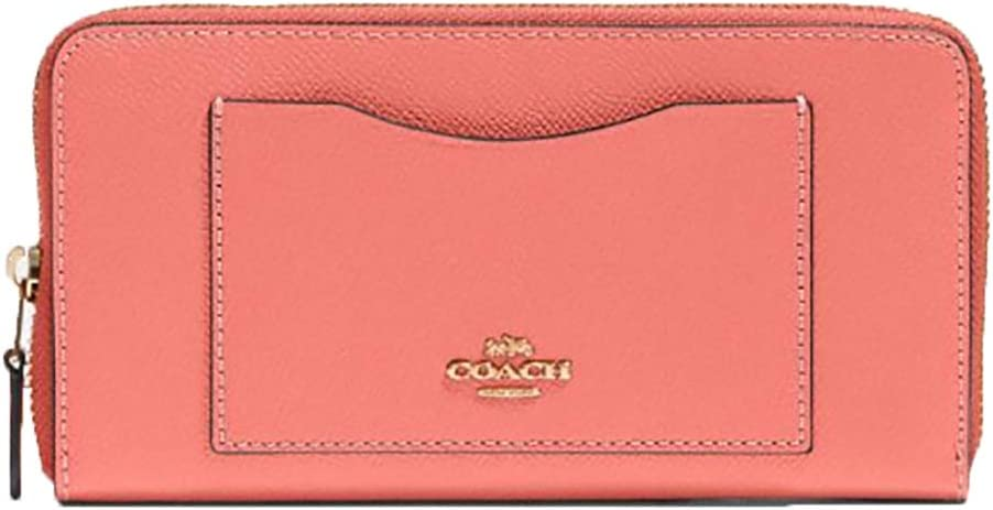 Coach Crossgrain Leather Accordion Zip Wallet (Bright Coral/IM Gold)
