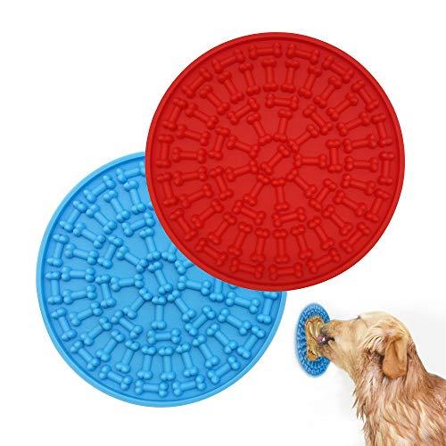 Gobesty 2 alfombrillas para perros para perros y mascotas, dispositivo de distracción de manteca de cacahuete, almohadilla para el cuidado del cuidado