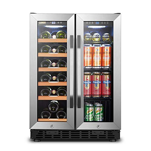 Lanbo Dual Zone Wine/ Beverage Refrigerator, 24/30 Built-in, 18 Bottle and 55 Can