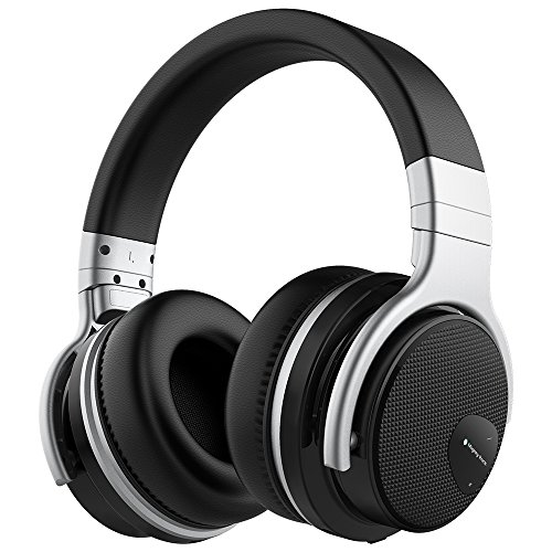 Meidong E7 Active Noise Cancelling Bluetooth Headphones Over Ear with Microphone Hi-Fi Deep Bass Comfortable Protein Earpads Wireless Headphones, 30 Hours Playtime for Music