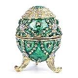 WWZL Vintage Faberge Huevo Caja de Joyería Decorativa Pintada a Mano Esmaltada, Jade Verde Joyero para Pendiente de Anillo de Collar