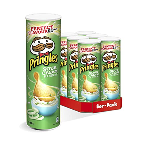 Pringles Sour Cream & Onion | Sourcream Chips | 6er Party-Pack (6 x 200g)