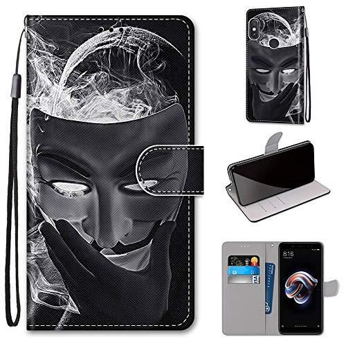 Miagon Flip PU Leder Schutzhülle für Xiaomi Redmi Note 5 Pro,Bunt Muster Hülle Brieftasche Case Cover Ständer mit Kartenfächer Trageschlaufe,Maske