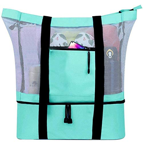 Bolso portátil de malla de doble capa, grande, impermeable, compartimento de enfriamiento de alta capacidad, plegable, organizador para playa, piscina, camping, picnic, gimnasio, viaje (C)