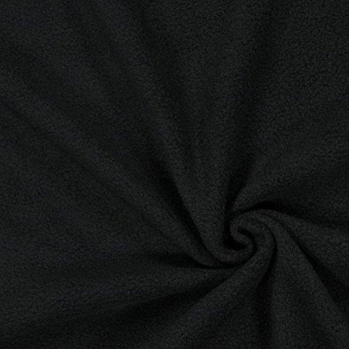 Fabulous Fabrics Fleece schwarz, Uni, 150cm breit – Fleece zum Nähen von Decken und Kissen – Meterware erhältlich ab 0,5 m