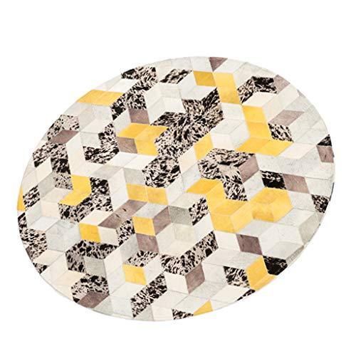 Teppich Runden Lederdecke Multi-Size EuropäIschen Luxus Stil Wohnzimmer Schlafzimmer Restaurant BüRo Nachttisch TüR Outdoor Wasserdichte Rutschfeste Decke Waschbar Handgefertigte Decke Geometrisches