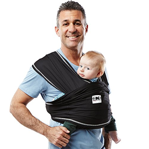 Baby K'tan Active Baby Wrap Carrier, Infant and Child Sling - Simple Wrap Holder for Babywearing - No Rings or Buckles - Carry Newborn up to 35 Pound, Black, Medium (Women 10-14 / Men 39-42)