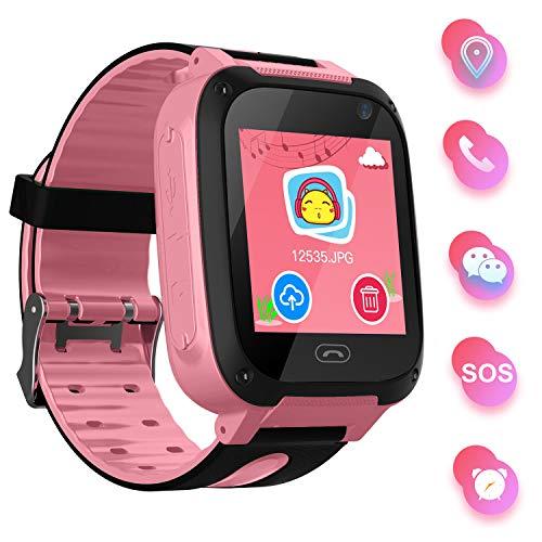 bhdlovely Smartwatch Kinder Telefon Uhr für Kinder mit SOS Voice Chat Kinderuhr Cadeau Junge Mädchen 3-12ans (Rose)