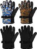 4 Pairs Kids Ski Gloves Winter Waterproof Gloves Ski Snow Warm Gloves Snowboard Gloves Unisex Camouflage Gloves for Children 8-13 Years (Black, Green Camouflage, Blue Camouflage)