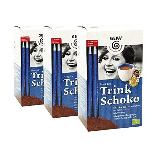 GEPA bio & fair Trink Schoko - Trinkschokoladen-Sticks, 10 x 25 g, 3er Pack