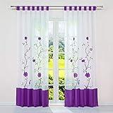SCHOAL Cortina transparente con trabillas, cortina de voile, cortina bordada,...