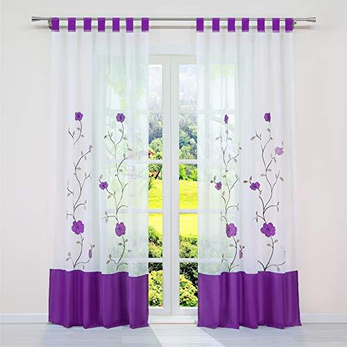 SCHOAL Cortina transparente con trabillas, cortina de voile, cortina bordada, para salón,...