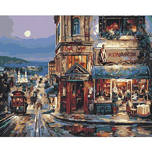 SDHJMT Anfänger Malen nach Zahlen Kit Digitale Bildwanddekoration der Straßencafézusammenfassungs-Ölfarbe Leinwand DIY ölgemälde 16x20inch