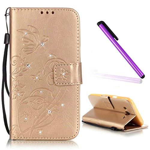 EMAXELERS Galaxy J1 Ace Wallet Hülle Bling Diamant Glitzer Schmetterling PU Leder Flip Magnetisch Book Wallet Brieftasche Hülle für Samsung Galaxy J1 Ace,Gold Butterfly with Diamond