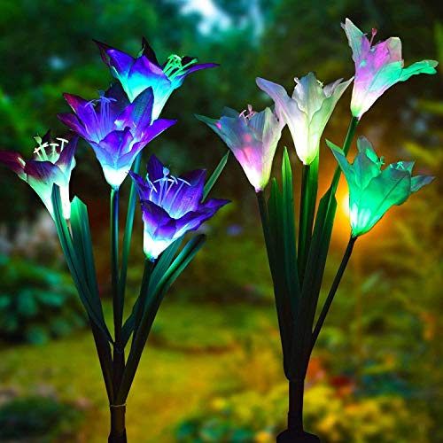 LED Solar Lily Flower Lights 2 Pack 8-Head 7 Cambio de color al aire libre, luces de jardín Patio Yard Pathway Party Decoración navideña (blanco y morado)