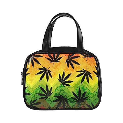 Tote Shoulder Bag Seamless Hemp Leaves On Geometric Zipper Tote Bag Zip Tote Bags Pu Leather Top Handle Satchel Womens Fashion Bags