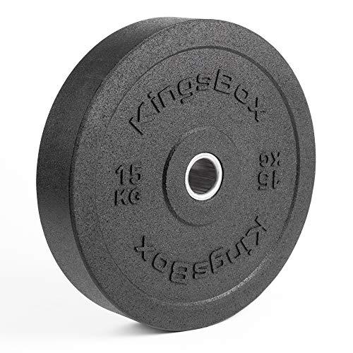 KingsBox Hi-Temp Bumper Plates 3.0丨Pesas Olímpicas Estándar para Barras, Levantamiento de Pesas丨Fabricado en Europa丨Amortiguadores de Golpes, Rebote Mínimo丨Material Acero y Goma丨Venden por Pares丨15 kg