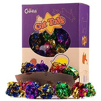 Chiwava 24 pièces 4 cm Jouet pour Chat Mylar Balles Brillant Crinkle Crackle Boules Jouets de Chaton Jeux interactif Couleur Assortie