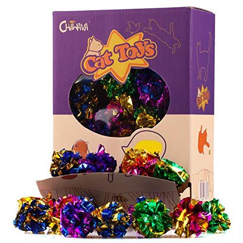 Chiwava 24 Piezas 4 cm Juguetes para Gatos Brillante Arruga Mylar Bolas Crackle Ligero Pelotas Gato Gatito Interactivo, Colores Variados
