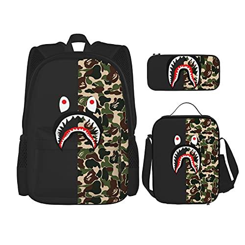 Mochila para estudiante, mochila clásica, bolsa de almuerzo, 5 Shark Ape Bape Camo, Talla única