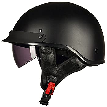 ILM Half Helmet Motorcycle Open Face Sun Visor Quick Release Buckle DOT Approved Cycling Motocross Suits Men Women  L Matt Black
