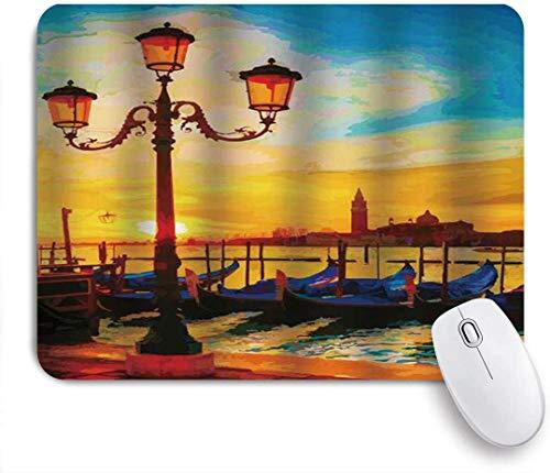 Gaming-Mauspad, antike Laterne aus Venedig und Gondeln, die im rutschfesten Gummi-Mauspad des Sonnenaufgangs des Grand Canal für Notebooks, Computer-Mausmatten schwimmen