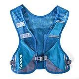 YUK Mochila de hidratación con arnés para botella de agua, senderismo, camping, correr, maratón (chaleco azul)