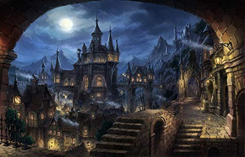 Jigsaw Puzzle 1000 Piece Ancient Castle at Night Suitable for Teenagers and Adults Wooden Puzzle Unique Home Decorations and Gifts 75x50cm