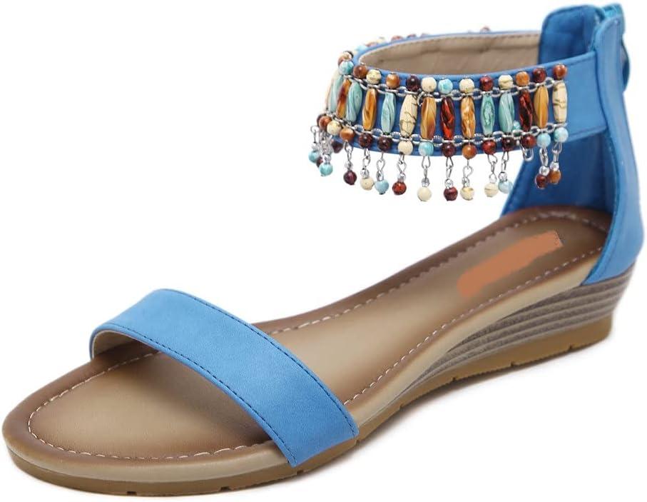 DovSnnx Women's Summer Flat Open Toe Sandals Slip On Flip Flops Sport Wedge Low Heel Shoes with Arch Support Outdoor Slippers Elastic Strap Bohemia Beach Travel Bead Green Zipper Blue