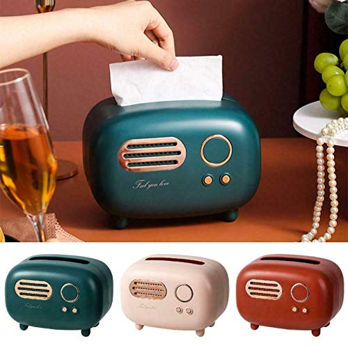 iusaSDZ Soporte de Papel de Escritorio Modelo de Radio Retro, Caja de pañuelos faciales de Radio, Caja de Almacenamiento de dispensador Vintage, contenedor de Toallas de Papel Organizador 3pc (B)