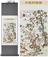 SDFDP Chinoisepeintureプリント100X30CM、グリーン・パケット、色絵画花ホームオフィス装飾中国のスクロール絵画アート絵画中国風の鳥と花:黄色のパッケージ (Color : Green package)