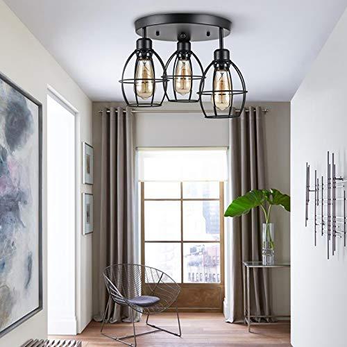 Berkalash Lámpara de techo, diseño industrial vintage, 3 focos, lámpara de techo para salón, dormitorio, cocina, habitación infantil, color negro (bombilla no incluida)