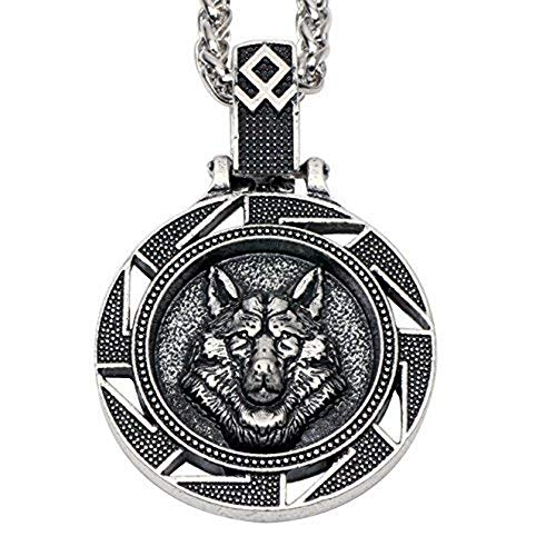 Paw Paw House Mens Wolf Head Necklace Pendant for Dog Lover Men Norse Viking Warrior Arrow Headed Amulet Jewelry 4043 (4116Si)